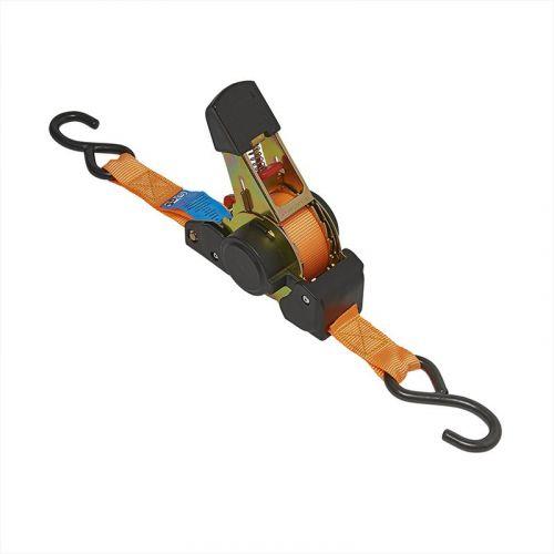 Spanband met ratel en 2 haken 350 cm 320 kg automatisch oprollend