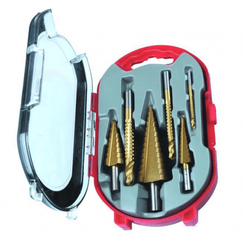 Stappenboor/Frezenset 6 Delig Titanium