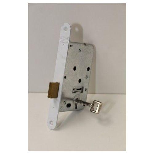 Kastslot met witte voorplaat en sleutel.