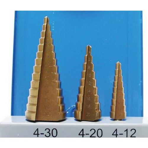 Stappenboor, Titanium, 4-30Mm set 3-delig