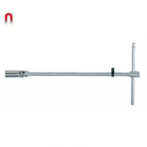 """Bougiesleutel 3/8"""" magnetisch met kniegewricht 16 mm T-greep 300 mm"""