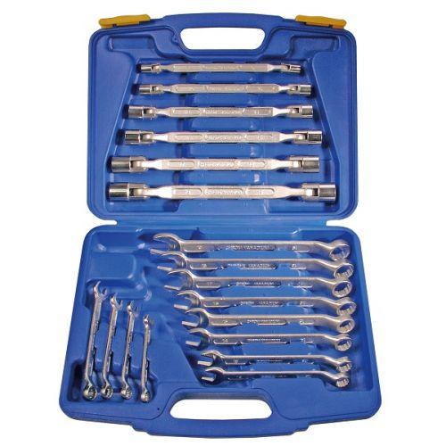 Ring-/steeksleutel en kniesleutel set 18-delig BGS