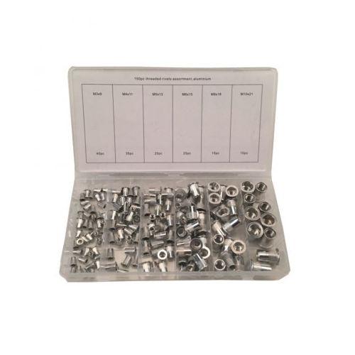 Blindklinkmoeren assortiment aluminium 150-delig